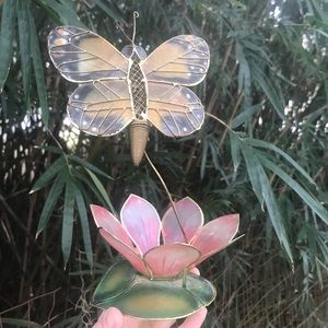 Vintage Stained glass/ brass Butterfly